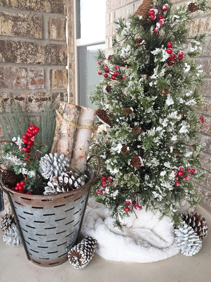 Rustic Christmas Decorations For An Outdoor Fireplace Or Patio Outdoor Christmas Tre Front Porch Christmas Decor Farmhouse Christmas Decor Porch Christmas Tree