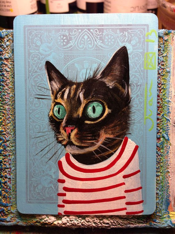 Cat portrait N87 on a playing card Original acrylic by JuanStar2, $25.00