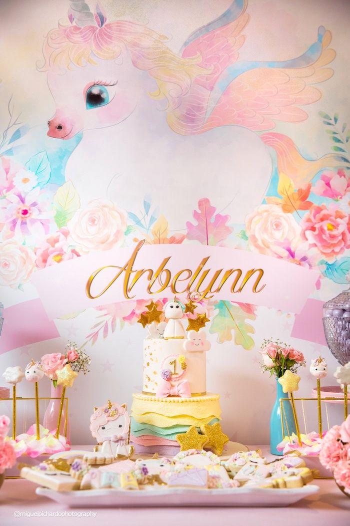Baby Unicorn 1st Birthday Party Kara S Party Ideas Unicorn Themed Birthday Unicorn Themed Birthday Party Baby Birthday Themes