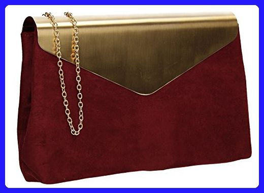 Burgundy Suede Wedding Ladies Party Prom Evening Clutch Hand Bag Purse Handbag