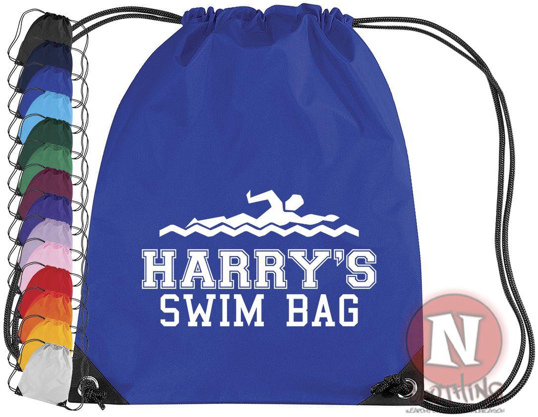 Drawstring PE school Personalised swimming sports kit bag add child/'s name