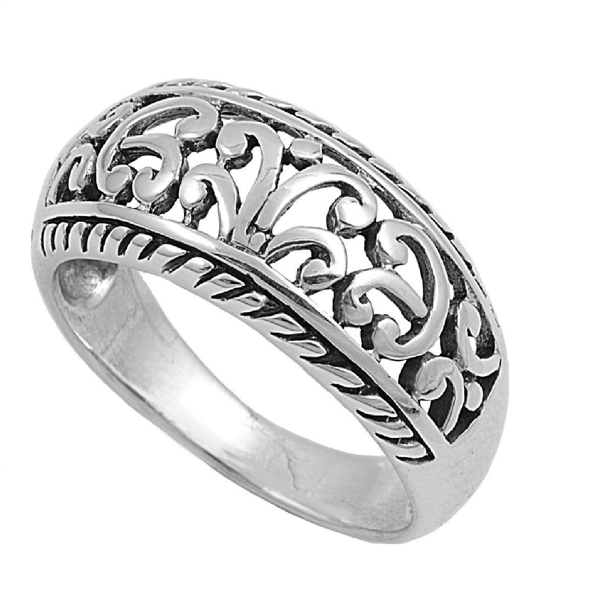 925 Sterling Silver Braided Edges Filigree Abstractionism Ring