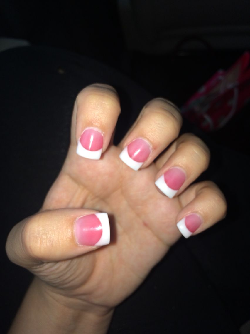 solar white tips & dark pink nails | beautiful nails | Pinterest ...