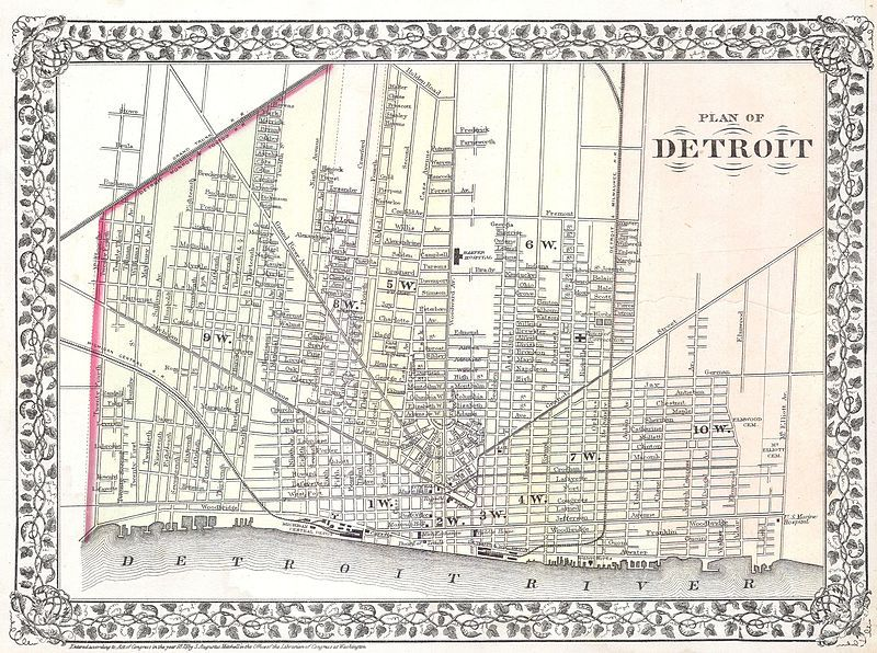 1872 Mitchell Map Of The City Of Detroit Michigan This Hand Colored