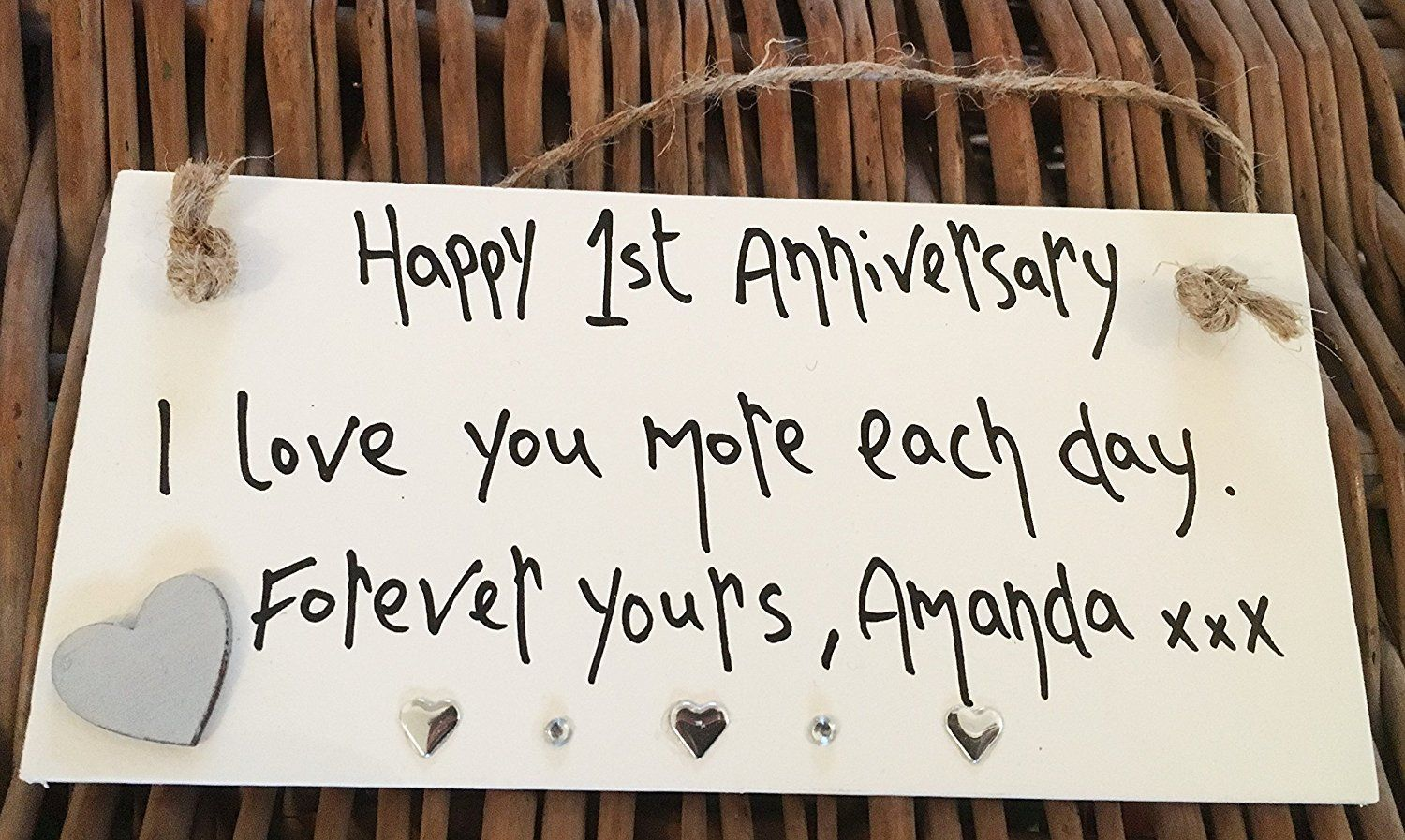 Gift For Husband On 1st Wedding Anniversary: HAPPY 1ST WEDDING ANNIVERSARY PERSONALISED PLAQUE HUSBAND