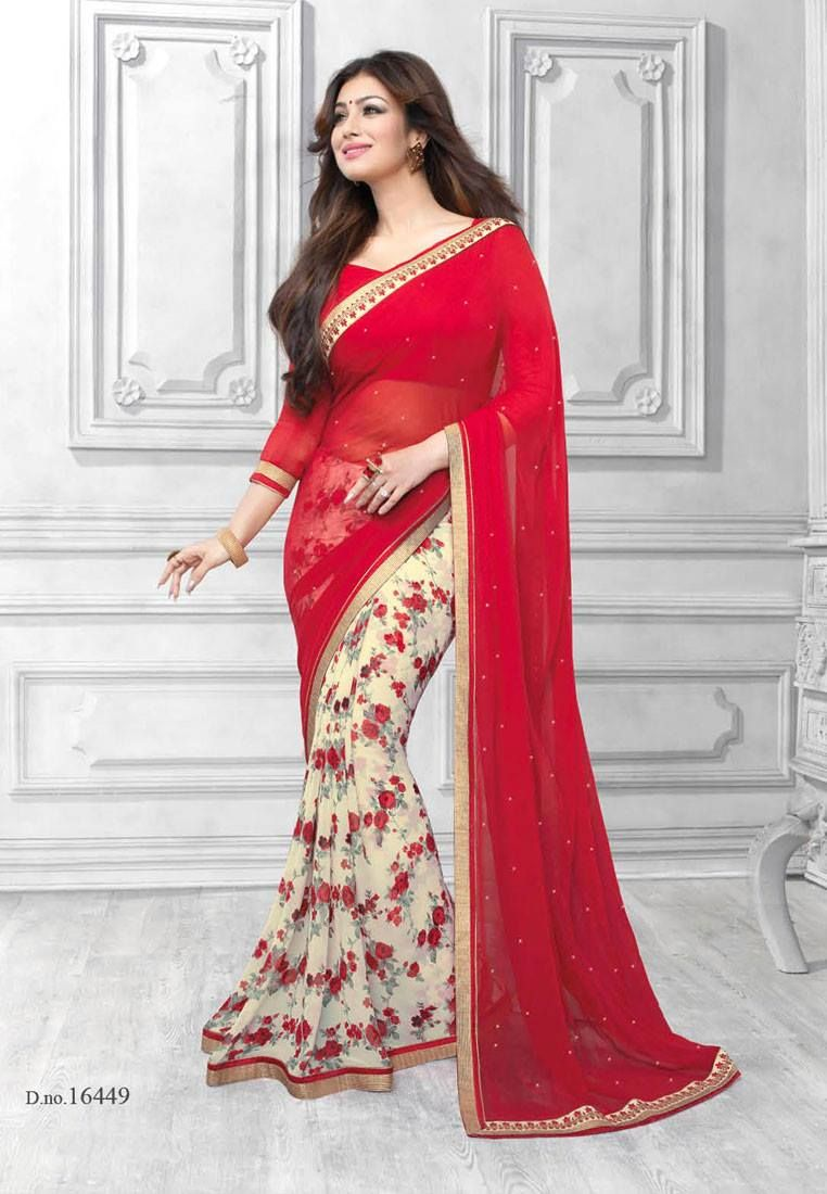 8c8fb9685c Red with Half white Colored Half Saree Designed Semi Georgette Saree with  Patch work Border and