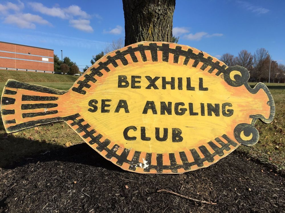 X LARGE BEXHILL SEA ANGLING CLUB SIGN Wall DECOR sign Fish MAN CAVE ...