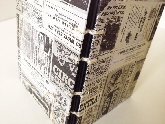 Newspaper Mini Photo Album or Black Page Journal by lovebirdbooks, $14.00