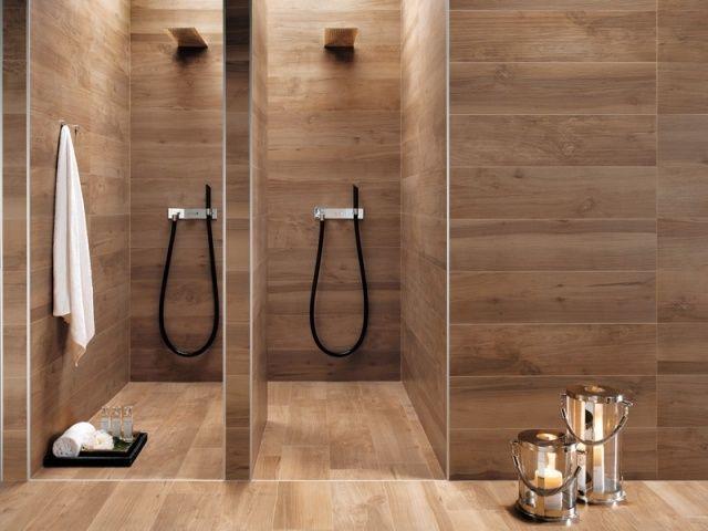 AuBergewohnlich Badideen Fliesen Holzoptik Warmer Holzton Duschen