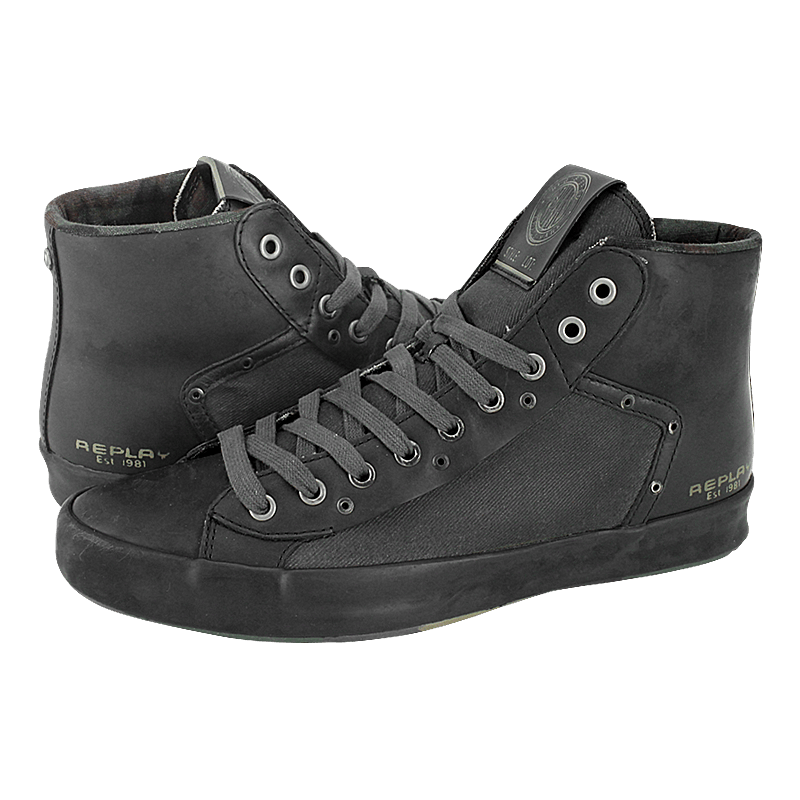e68da23b0ad Kenai - Replay Men's casual low boots made of p.v.c., fabric and leather  with fabric lining and synthetic outsole. Available in color Black.