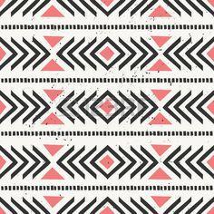 Main dessin�e de style de motif ethnique homog�ne. G�om�trique abstrait fond de carrelage en noir et pastel corail rouge. photo
