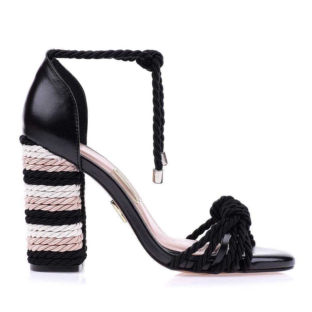 Sandália Salto Alto Fino Camurça Preto UZA Shoes Sapatos