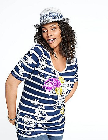 In a spoil-you-soft micro modal blend, this floral striped tee brings a kiss of comfort and femininity to your everyday wardrobe. Flattering scoop neck and short sleeves.  lanebryant.com