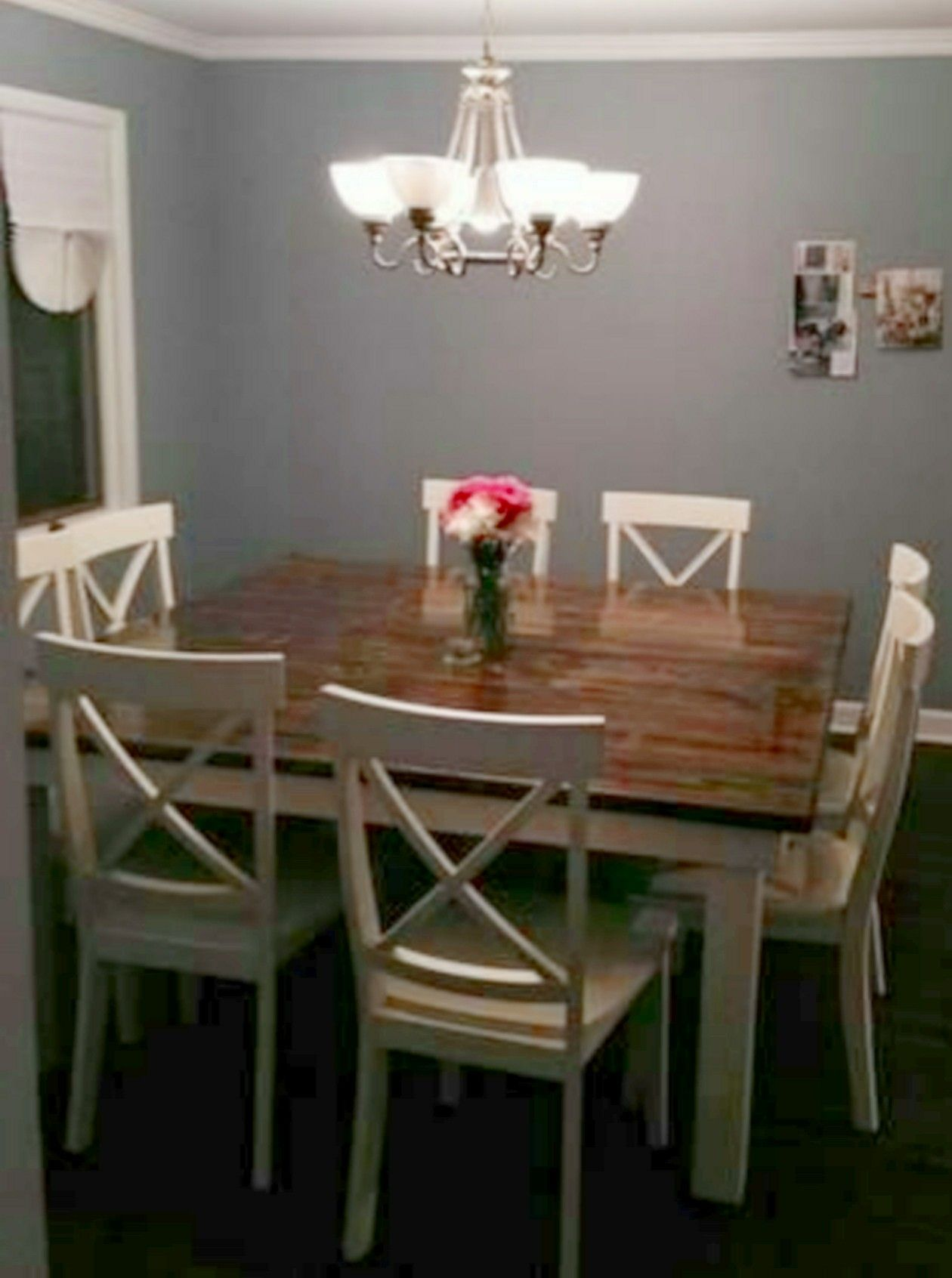 Square 8 seat farmhouse dining table with white cross back ...