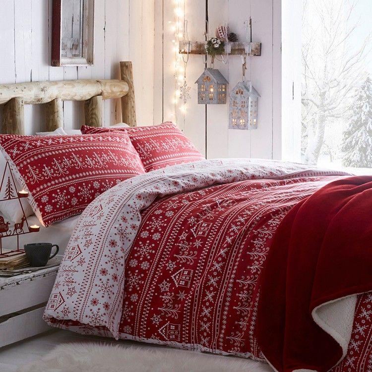 Red \u0027Scandi Fairisle\u0027 Bedding Set I like it Christmas, Christmas