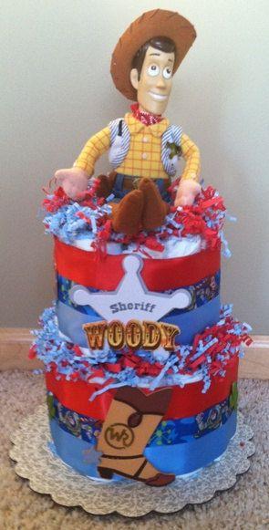 Disney TOY STORY Sheriff WOODY Diaper Cake Baby Shower Centerpiece Gift