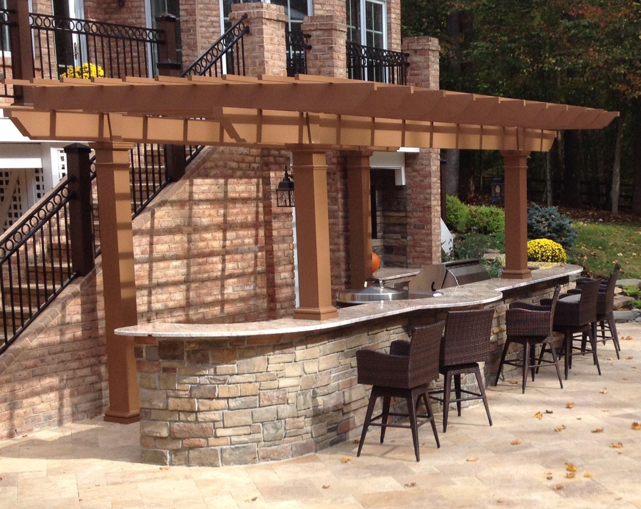 Painted Trex Pergola Kit Over Outdoor Kitchen Maryland Pergola Plans Design Pergola Pergola Designs