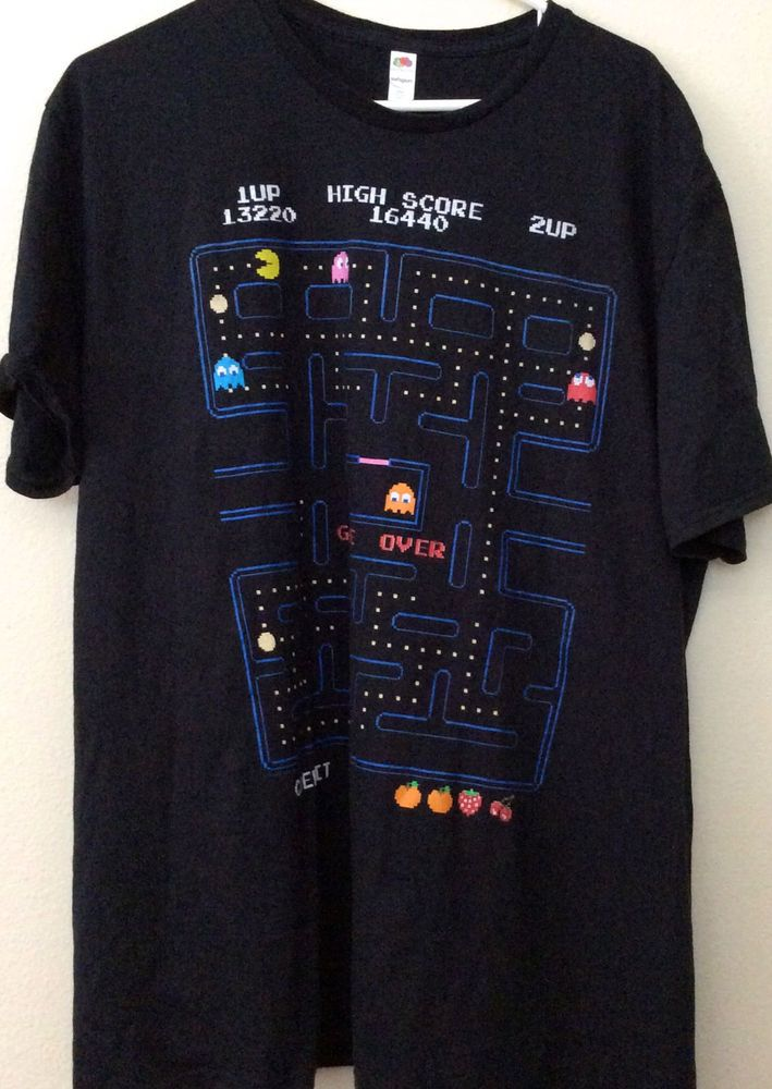 2db15307c16 Men s XXL 2XL Pac Man Video Game T shirt Black New