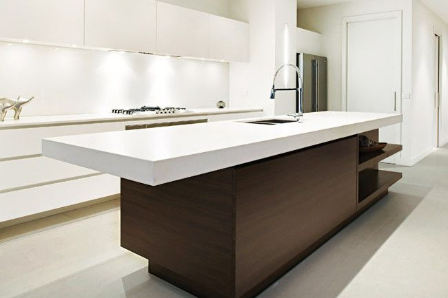Kitchen Island Bench Designs a wood kitchen island feature in neutral-toned kitchen. quartz