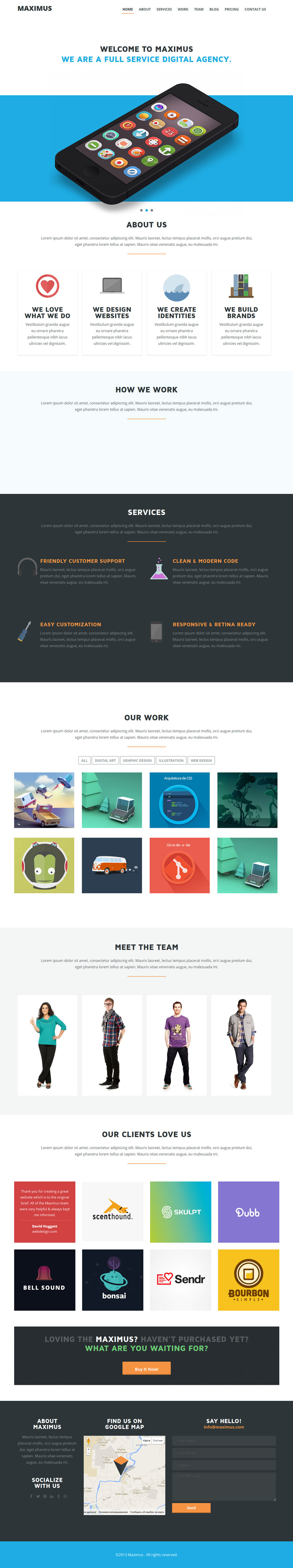 Maximus One Page Portfolio Theme Brochure Emailing Poster
