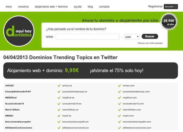 Deja que tu próximo dominio #web sea un #TrendingTopic de #Twitter