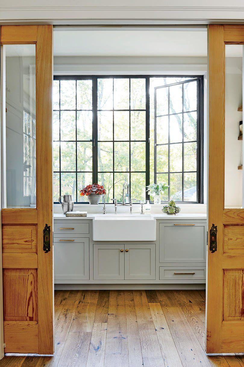 Backsplash around kitchen window  this nashville couple showed us how to downsize in style  gray