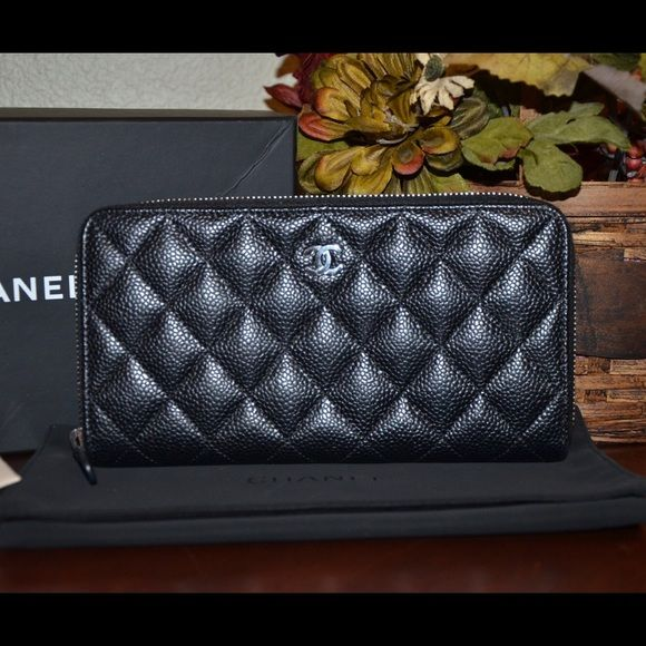 1fd2400d1e47 100% auth bnib Chanel l gusset caviar zip wallet Brand new never used.  Comes with box and dust bag and cc cards. Rare and hard to find CHANEL Bags  Wallets