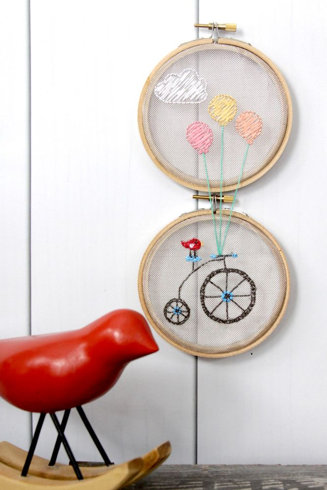 DMC-Toile en maille a broder  flamingotoes Balloons-and-Bicycle-Mesh-Hoop-Set