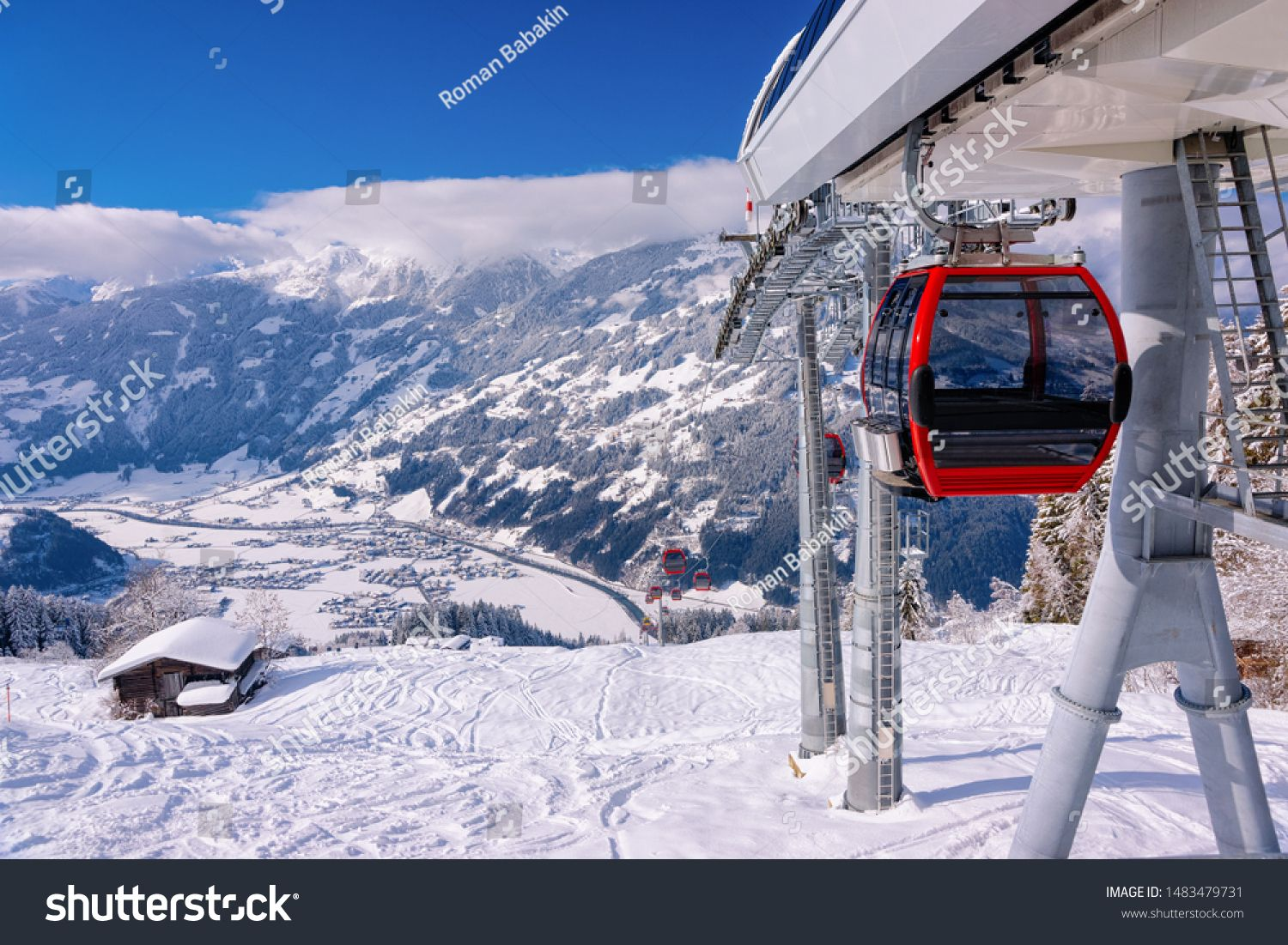 Red Cable Cars Of Zillertal Arena Ski Resort In Tyrol In Mayrhofen In Austria At Winter Alps Chair Lifts In Skiing Ski Resort Baby Shower Invitation Templates