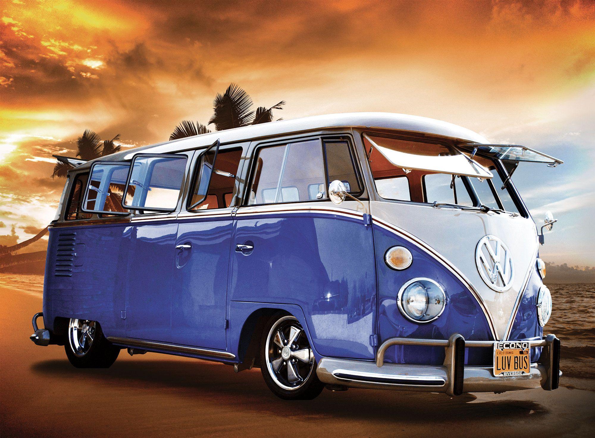 1wall Giant Blue Vw Wallpaper Departments Diy At B Amp Q Vintage Vw Van Volkswagen Minibus Campervan Wallpaper