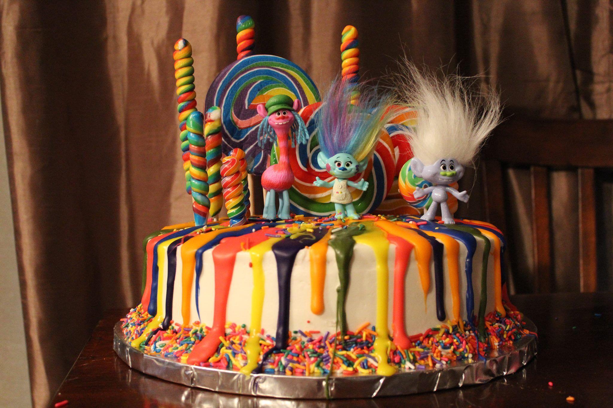 Trolls and Lollipops cake | Lollipop cake, Cake, Cake ...