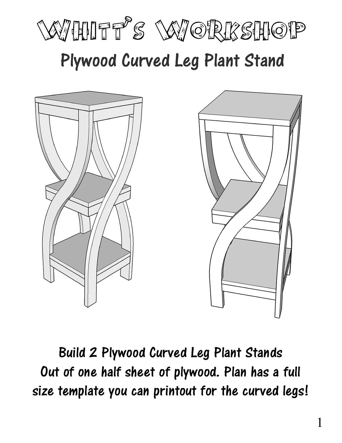 Plywood Curved Leg Plant Stand Etsy Plant Stand Wood Plans Best Woodworking Tools