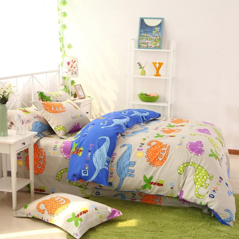 Beige Orange And Blue Cute Dinosaurs Print Jungle Animal 100 Cotton Girls And Boys Twin Full Queen Size Be Girls Bedroom Sets Kids Bedroom Sets Blue Bedding