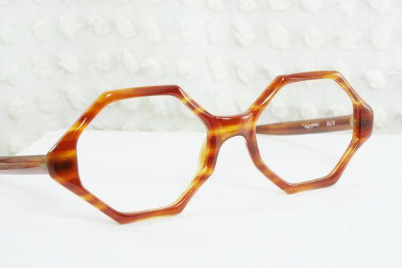 70df02e81a 60s Mod Glasses 1960s Horn Rim Eyeglasses Tortoise Orange Brown Octagon  Geometric Brown Boho Zyl Unisex 50 20 Frame by Raybert Optical