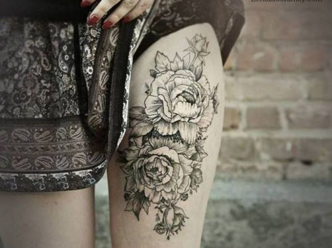 Black And White Tattoo Peonies Google Search Ink Tattoos Floral Thigh Tattoos Girl Thigh Tattoos