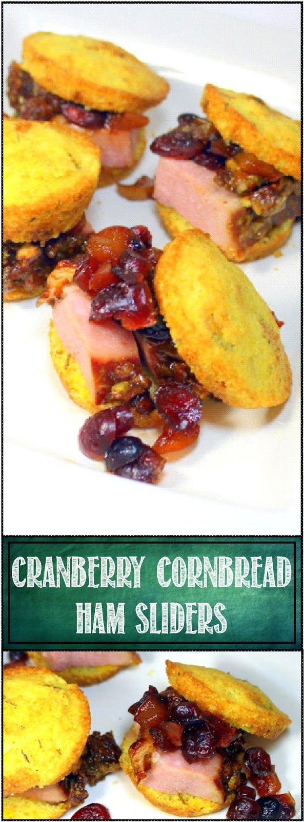 Cranberry Cornbread Ham Sliders (Holiday Leftovers) - 52 Holiday Appetizer Ideas... These are the BOMB of Holiday Leftovers. A little Cranberry Chutney (recipe included), A little Holiday Pistachio Ham (Recipe included) all on a WONDERFUL Best I ever had Cornbread Rosemary Muffin (Recipe included)... This is the stuff of miracles by the light of a refrigerator bulb... ENJOY!