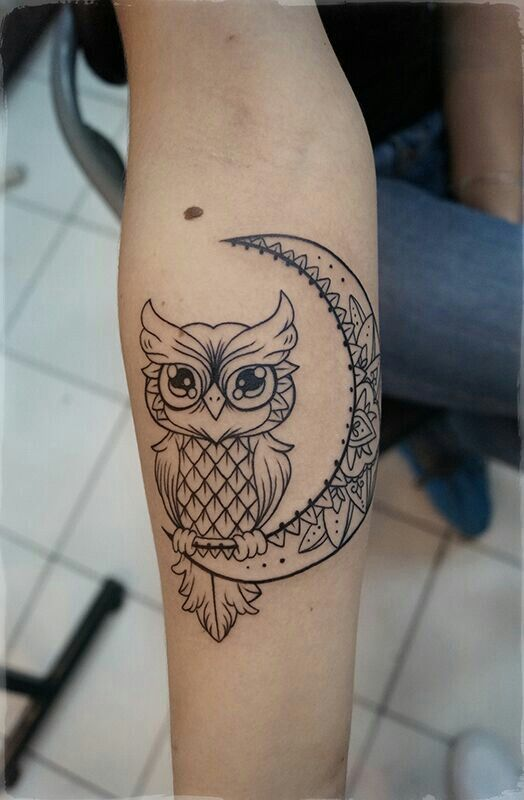 Owl With Moon Guys Half Sleeve Tattoos Tattoosformen Owl Tattoo Sleeve Half Sleeve Tattoo Realistic Owl Tattoo