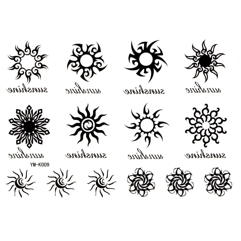 amazon.co.jp: タトゥーシール 太陽×1枚 星&流れ星×1枚 バラの花の