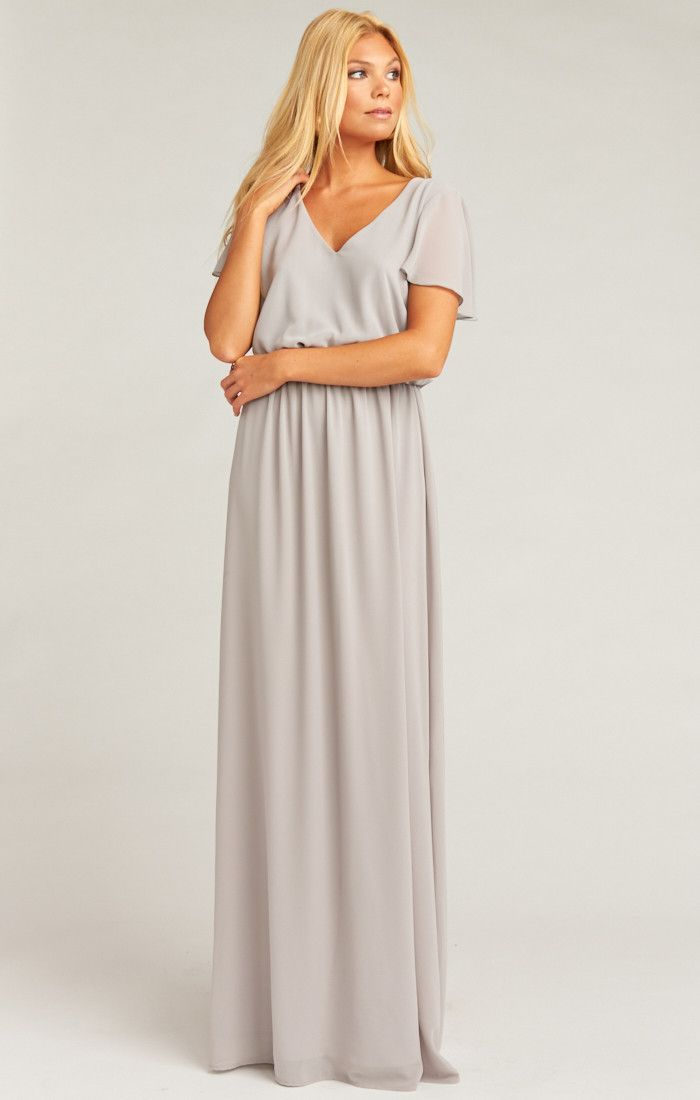 da625a2bd6f Michelle Flutter Maxi Dress ~ Dove Grey Chiffon in 2019