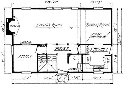 Late Georgian House Plan 1400 Sq Feet Federal Style House House Floor Plans House Plans