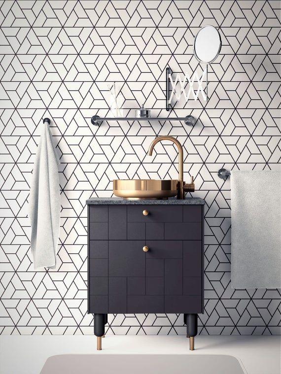 Geometric Wallpaper Removable Wallpaper Modern Wallpaper Etsy Bathroom Inspiration Decor Bathroom Wallpaper Modern Black And White Tiles Bathroom