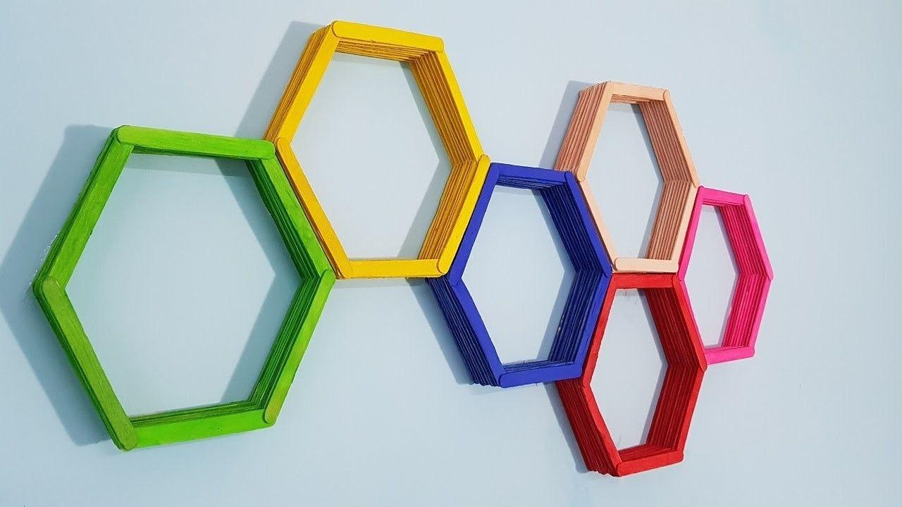 Diy Wall Art Popsicle Stick Hexagon Honey Comb Shelf Stick Wall Art Diy Popsicle Stick Crafts Popsicle Stick Crafts House