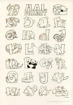 Das Malphabet Alphabet Mit Tieren Ausmalbild Malvorlage