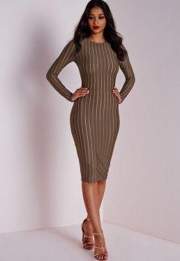 52f30acb4e97 Long Sleeve Striped Mesh Midi Dress Khaki Tight Dresses
