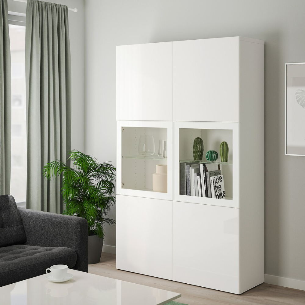 Besta Storage Combination W Glass Doors White Selsviken High Gloss White Clear Glass 47 1 4x15 3 4x75 5 8 In 2020 Ikea Interior Soft Closing Hinges