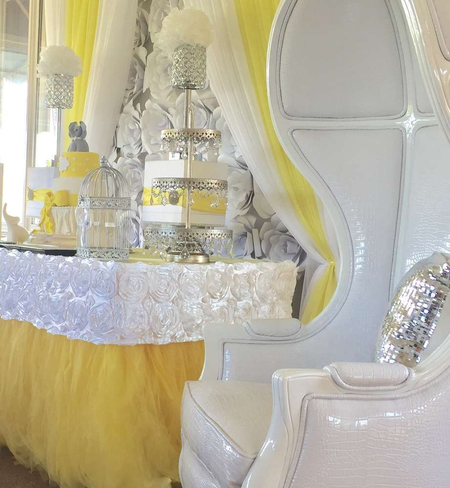Yellow White Silver Baby Shower Party Ideas Yellow Girl Baby