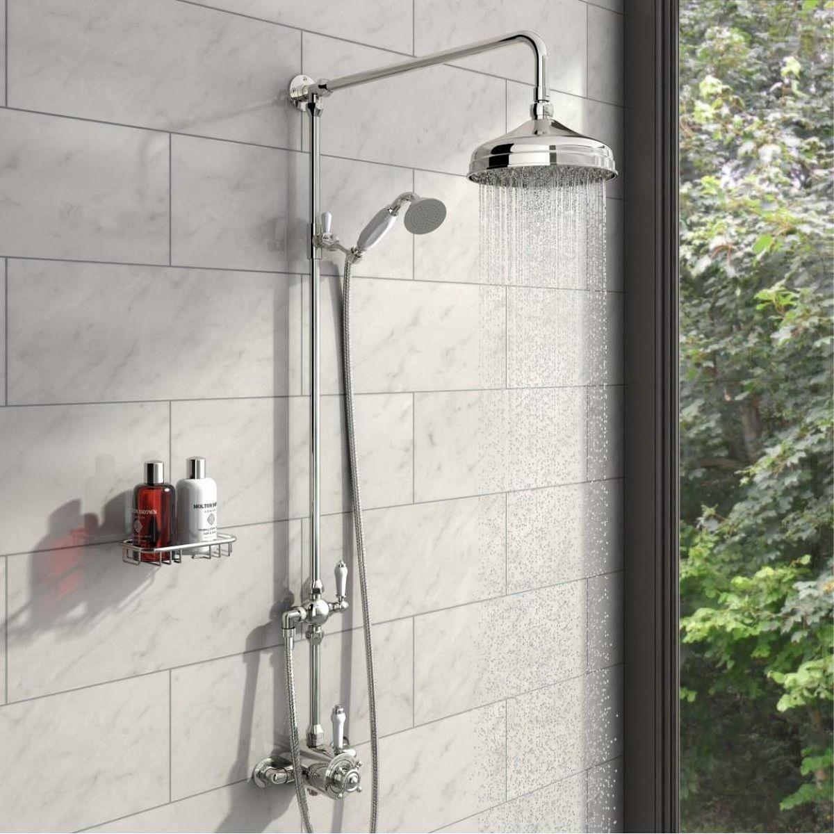 The Bath Co. Dulwich rain can shower head riser shower system ...