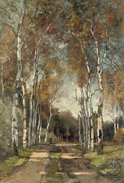 A birch-lined lane - Theophile De Bock