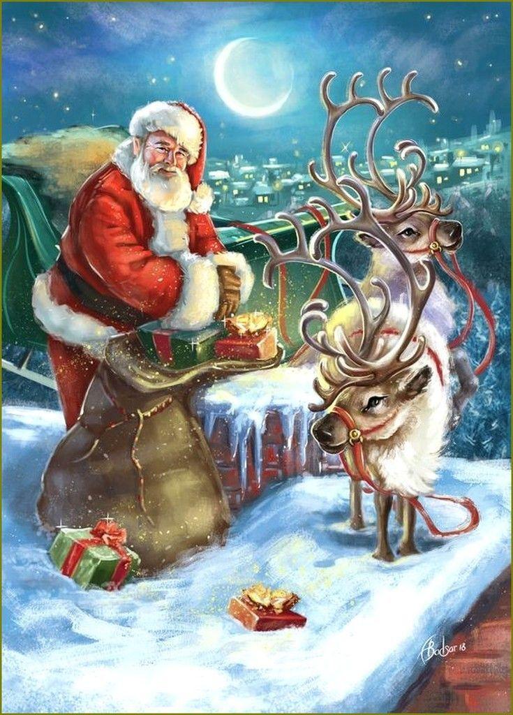 Le Père Noël en illustration par Alla Badsar en 2020