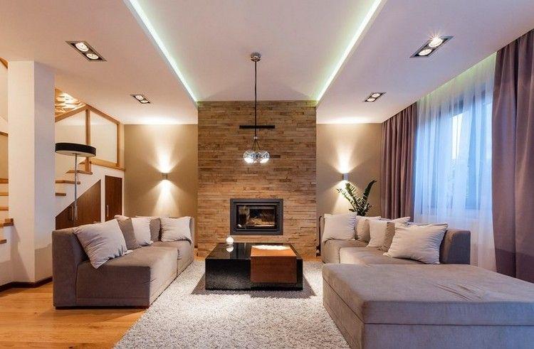 decorar paredes salon chimenea lamparas ideas - Decoracion De Salones Con Chimenea